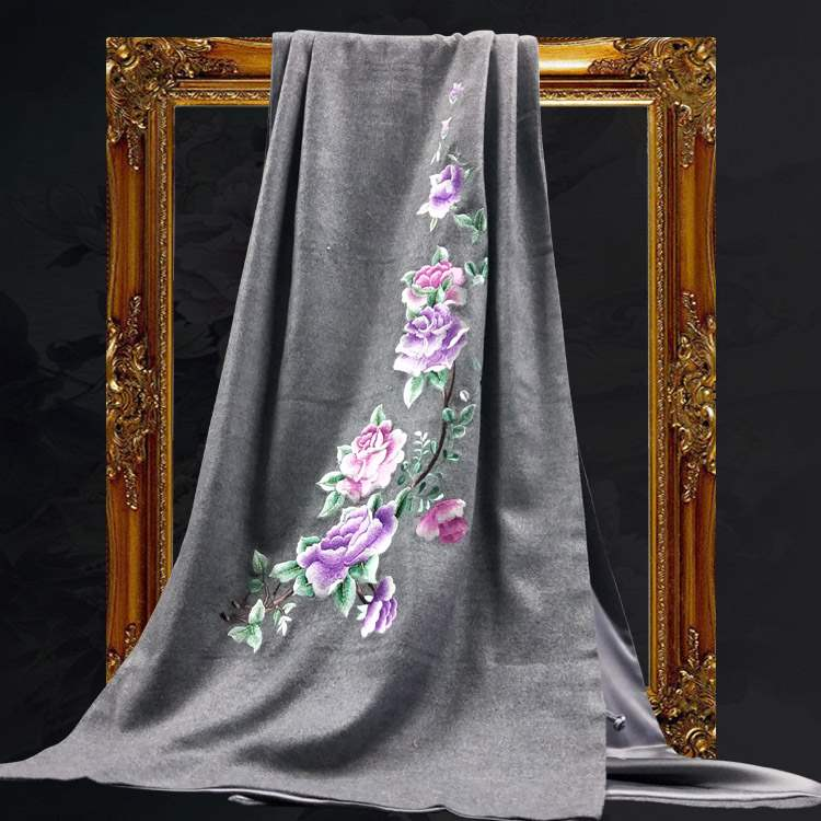 Embroidered scarf womens thickened national style hand embroidered double sided Warm Embroidered Cashmere Shawl embroidered shawl gift