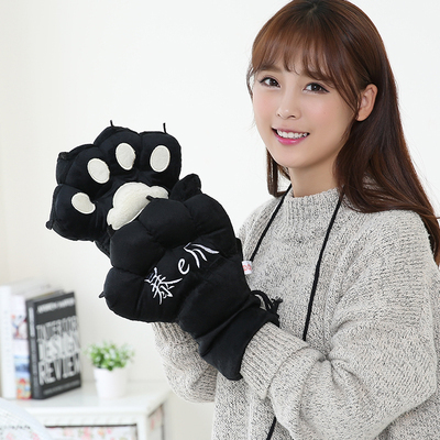 Cute fur cartoon gloves for male and female winter bear paws with fur paws warm and cute cat paws and bear paws