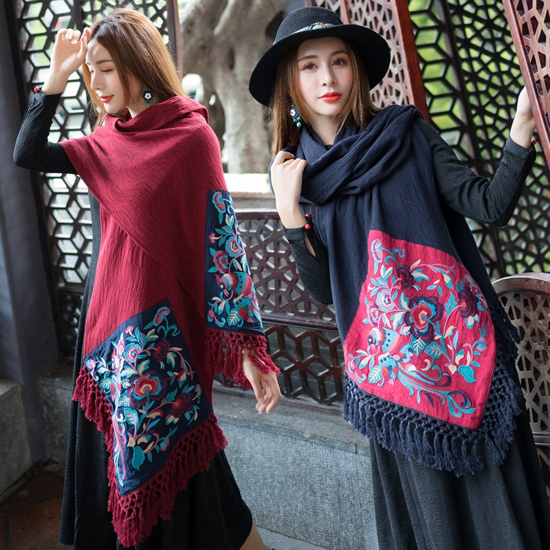 New autumn and winter new national style retro cotton linen embroidered tassel shawl scarf rectangular tea table table table decoration