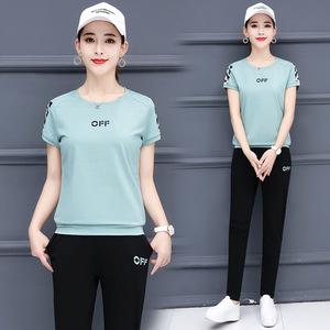 运动套装女夏2019新款妈妈套装韩版女装宽松短袖长裤休闲两件套
