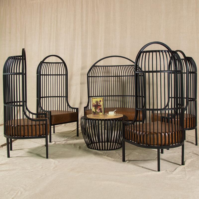 LOFT винтаж Птичья клетка Американский диван из кованого железа Гостиничный салон-приемная стол для дивана и кресла Промышленный стиль