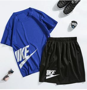 型臣运动套装男夏季大码短袖卫衣休闲两件套装圆领青年帅气男装