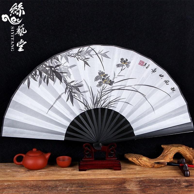 丝艺堂仿乌木折扇中国风男扇子手绘工艺白纸扇特色礼品扇道具