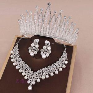 新款奢华水晶生日王冠新娘皇冠头饰项链耳环三件套婚纱礼服配饰品