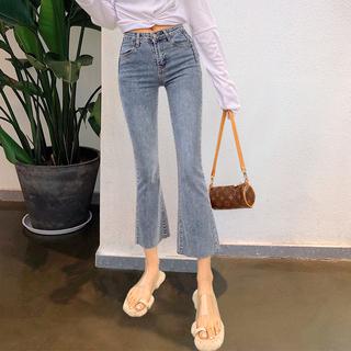 喇叭裤女直筒宽松高腰微喇牛仔裤显瘦2020新款潮阔腿直筒九分裤子