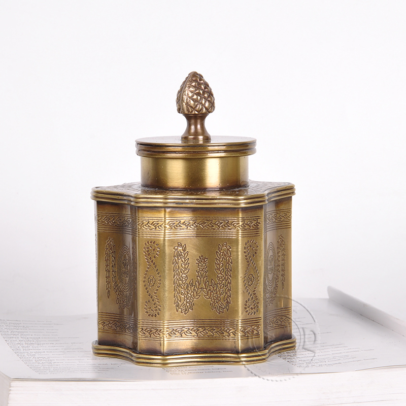 Pure copper imported from India, high-grade luxury ornaments, decorative storage cans, copper utensils, tea coffee cans, European and American ornaments