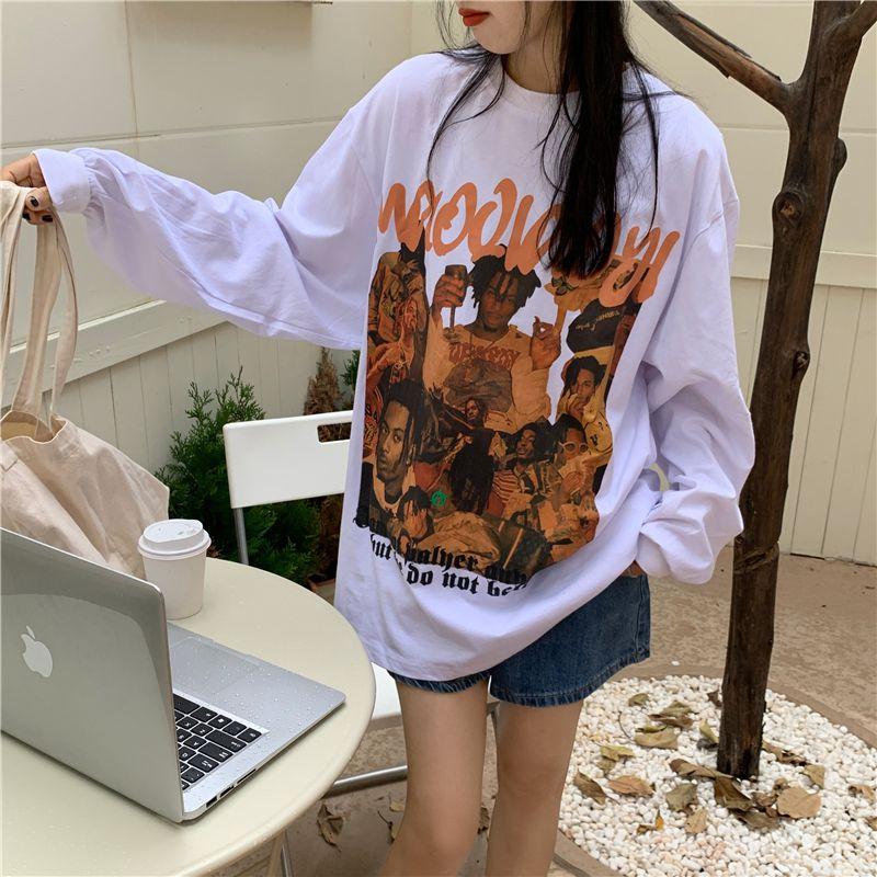 Khaki sweater Korean top womens design new thin print loose American hiphop T-shirt long sleeve