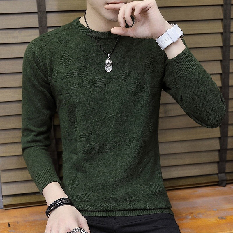 2019 winter new mens solid color round neck knitwear fashion trend casual youth Pullover