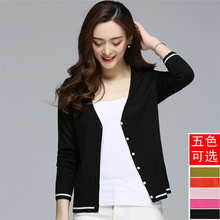 New Women's Wear Spring and Autumn Thin Card, Sweater Short, Knitted Air Conditioning Shirt, Simple V-neck Coat