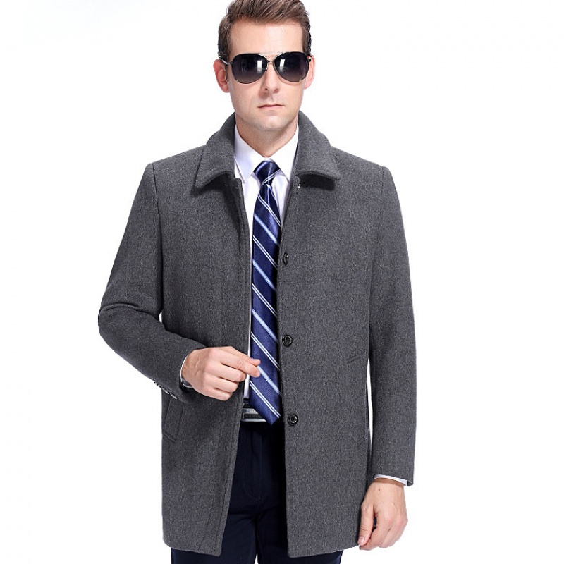 Luxury autumn and winter new middle aged and old business casual coat lapel mens jacket mens middle aged and old wool coat