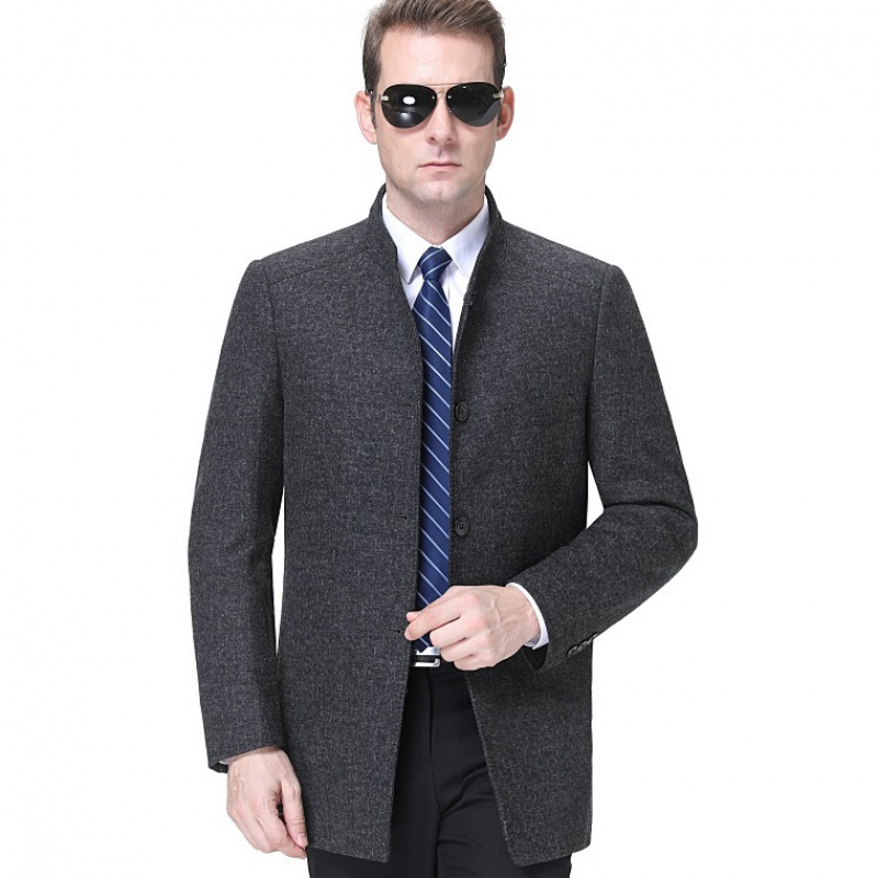 Cashmere jacket mens stand collar middle-aged autumn and winter new dad mens simple casual large woolen jacket