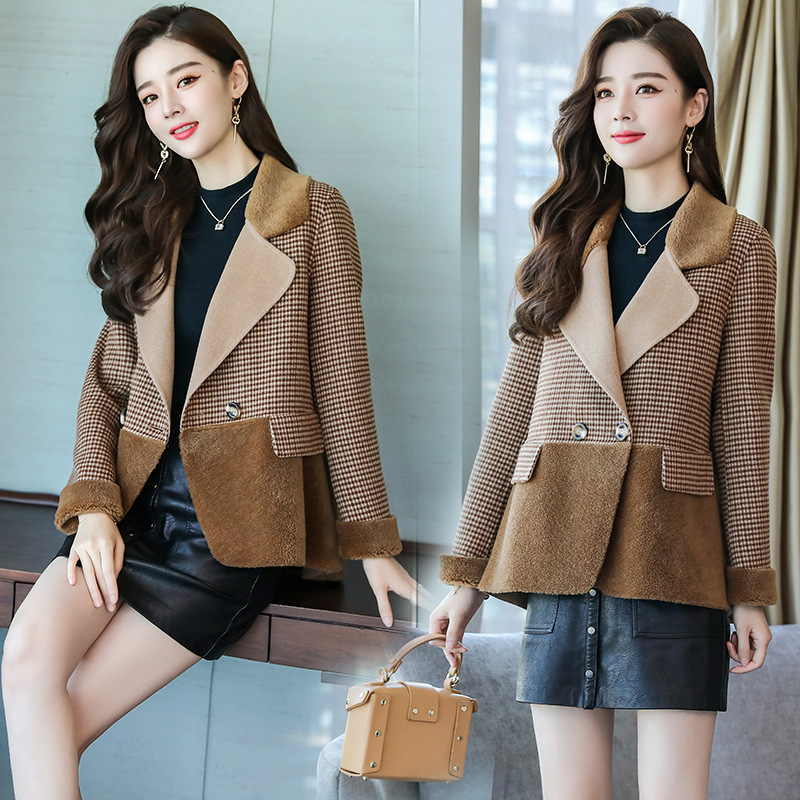 Winter new womens fashion woolen coat top Plaid slim fitting suit collar trend stitching V-neck check fashion