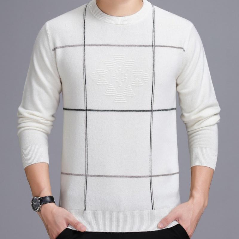 2019年新款中青年套头保暖打底衫男装冬季品牌毛衣厚款男式羊绒衫