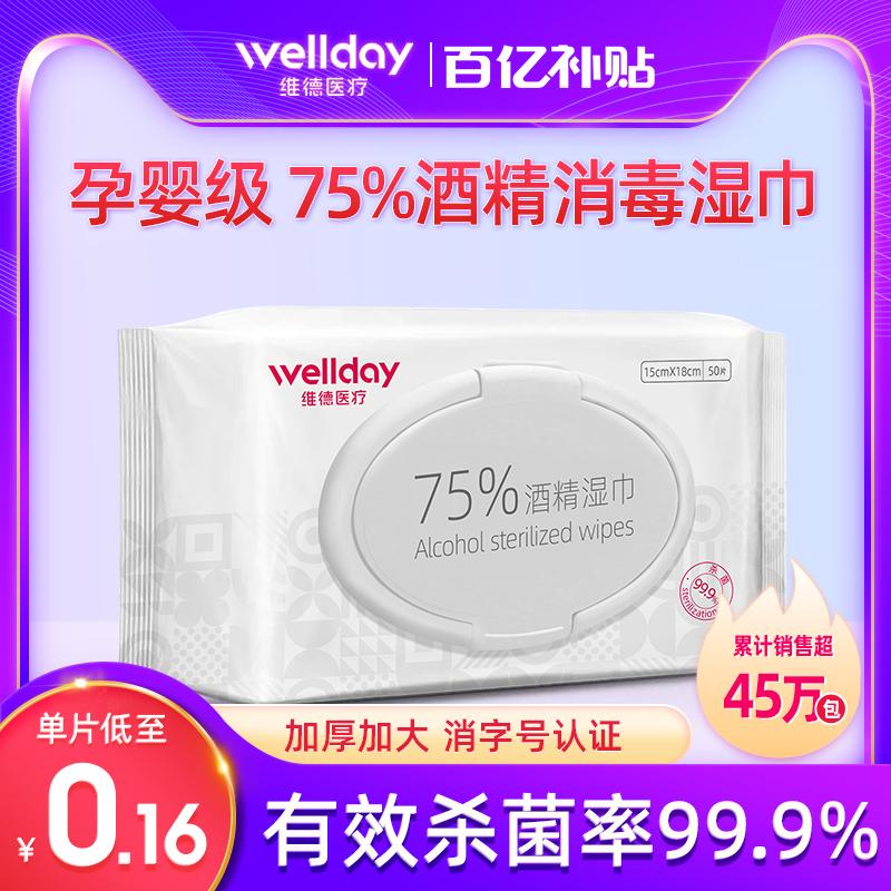 維徳医療の75度のアルコールのウェットティッシュの消毒のウェットティッシュの綿の医療用殺菌の大きさは包んで単独の切れの包装があります。