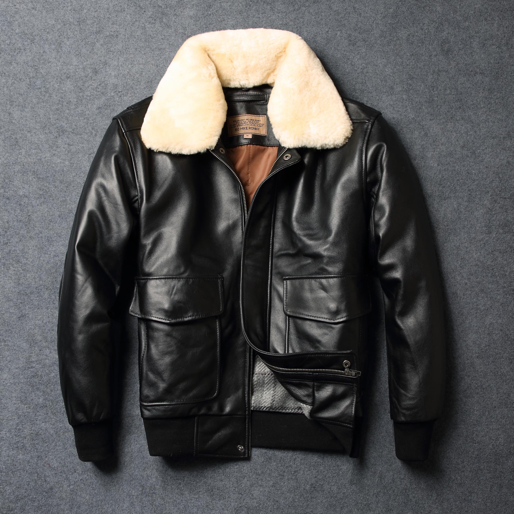 秋冬款真皮皮衣男休闲羊毛领真皮飞行服绵羊皮真皮夹克夹棉皮外套