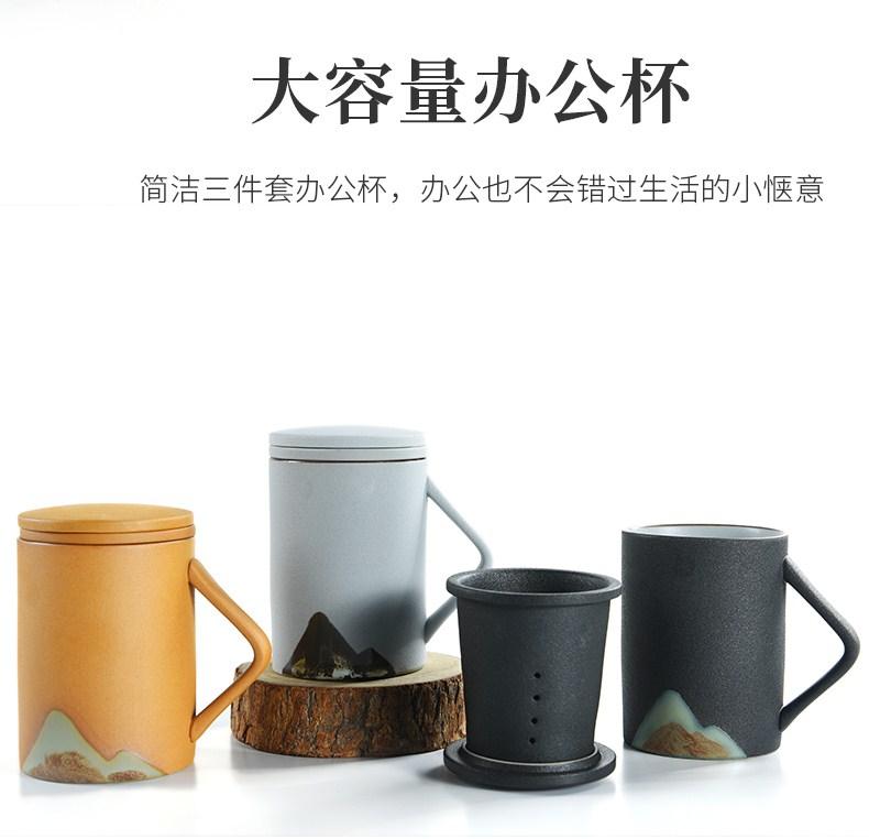 马克杯带盖陶瓷杯杯子大容量办公室情侣款水杯男一对刻字定制logo