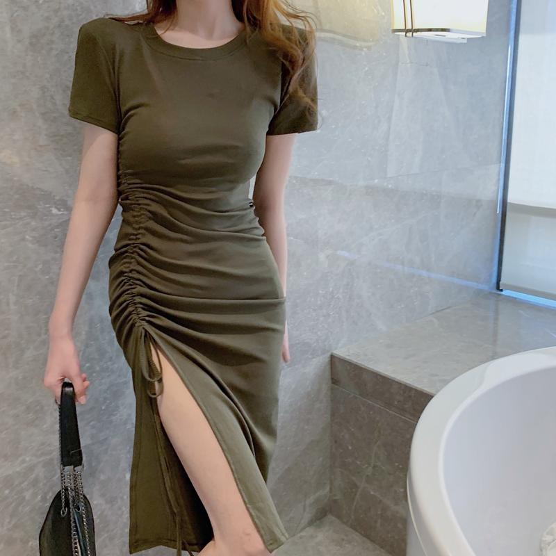 2021夏新款性感气质不规则开叉抽绳连衣裙女修身显瘦包臀裙女神范