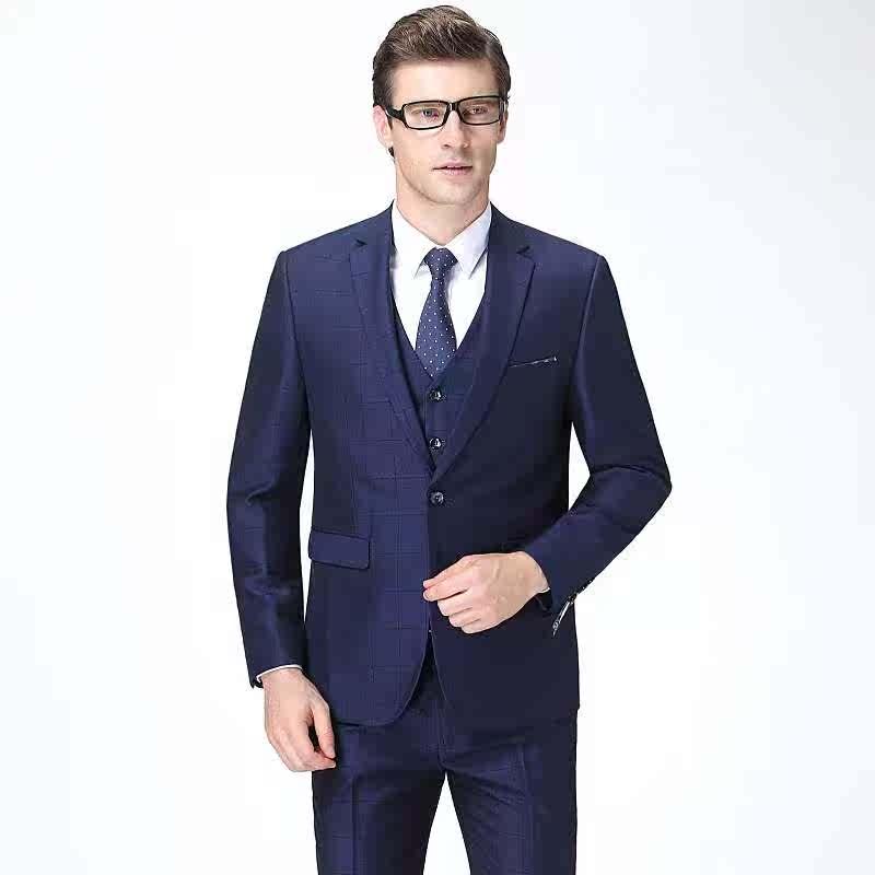 Business suit suit for mens wedding three piece suit for gentlemen slim dress elegant lattice suit for mens wedding