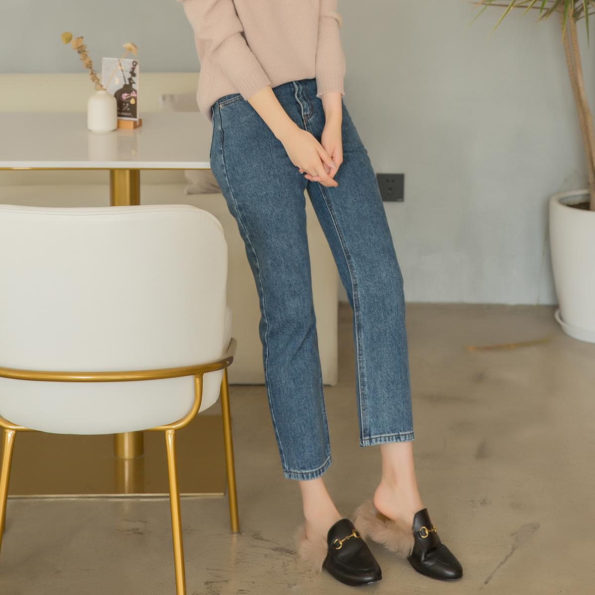 九分牛仔裤女小脚裤2020秋冬新款复古蓝色高腰直筒裤子显瘦锥形裤