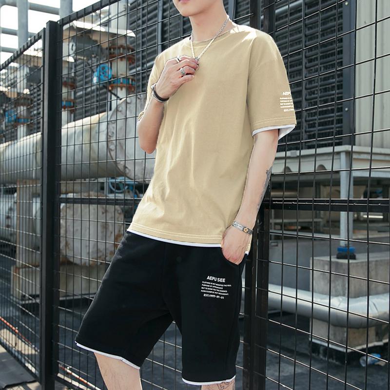 男士休闲套装夏季短袖T恤短裤2021新款运动两件套潮牌帅气男装