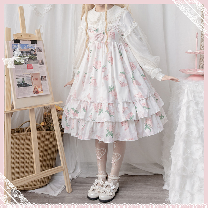 +Coralapril + winter strawberry Lolita milk with high waist bow ribbon cake placed jsk