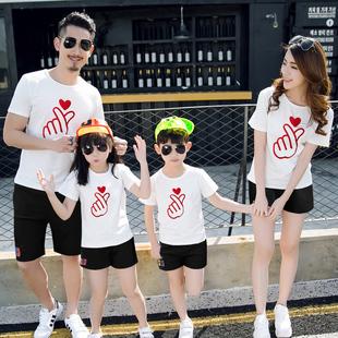 網紅親子裝2020新款夏裝潮t恤 短袖洋氣套裝一家三口母子母女家庭