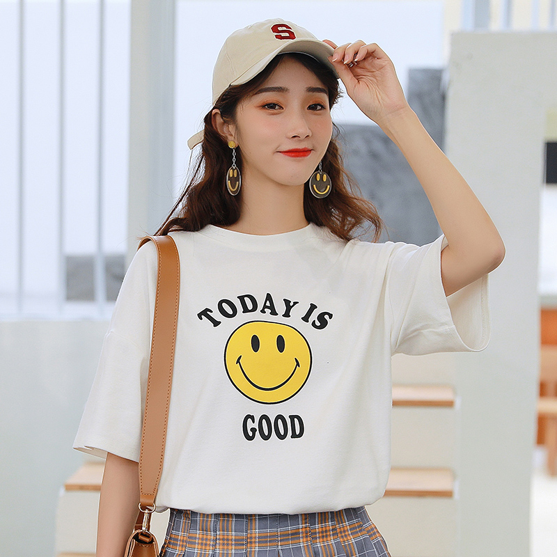 2019 new printed pattern top womens Korean loose white round neck short sleeve T-shirt bottom shirt student T-shirt
