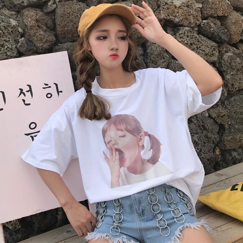 短袖女夏2018新款学生宽松韩版t恤满49.00元可用1元优惠券