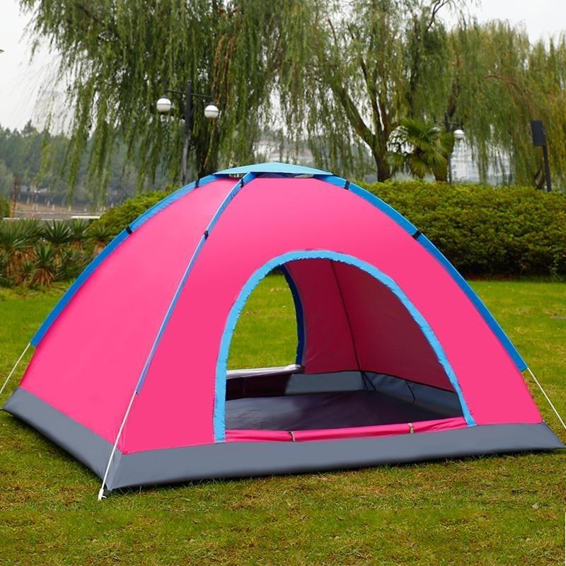 人野营双人用品野外速开43秒透气全自动挡雨套装户外露营帐篷2
