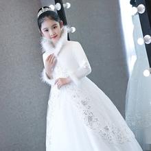 花童钢琴演出服主持人儿童晚礼服公主裙女童走秀婚纱裙加棉加厚冬