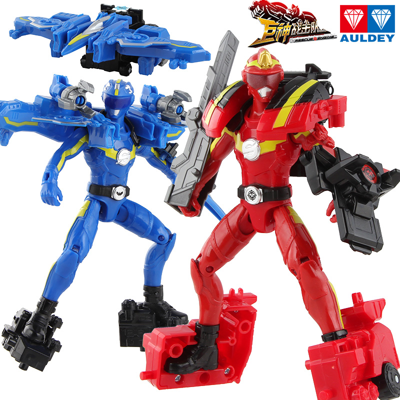 巨神战击队3超救分队玩具红霄卫可动套装变形机器人蓝旋卫战机王
