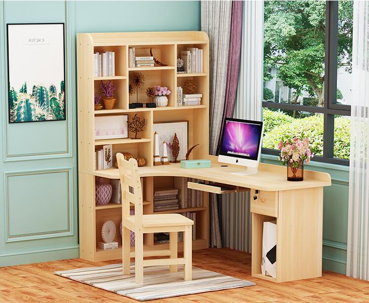 包邮实木转角桌书架组合简约台式家用电脑书桌简易松木书柜学习桌