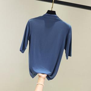 五分袖T恤女夏半高领短袖大码上衣薄款莫代尔中袖打底衫修身内搭