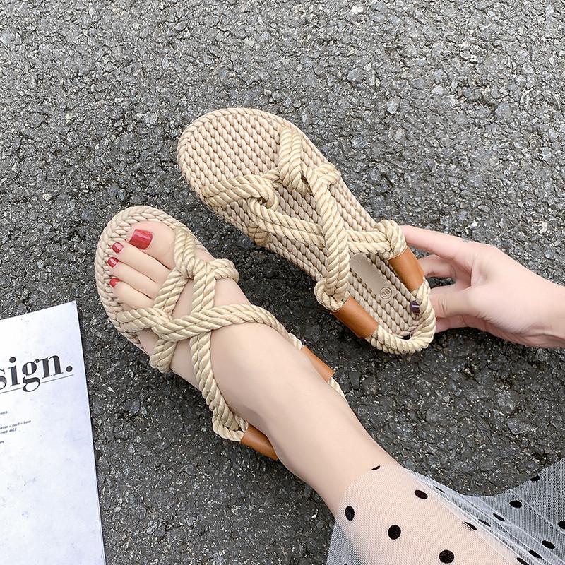 小香风个性麻绳编织凉鞋女夏天日系露趾创意罗马鞋平底草编渔夫鞋