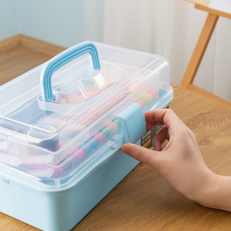 Deli Art Toolbox Household Multifunctional Manicure Storage Box Storage Box Pupils Portable Painting Box