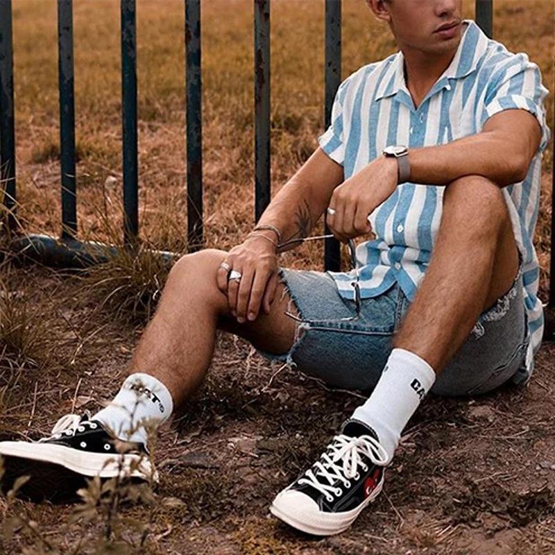 新款男装外贸欧美 夏威夷衬衫男士 夏季蓝条纹休闲宽松印花上衣