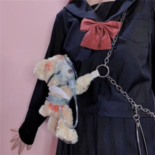 包郵原宿風手作受傷小熊血腥暴力蘿莉LOLITA軟妹子金屬鏈條斜挎包