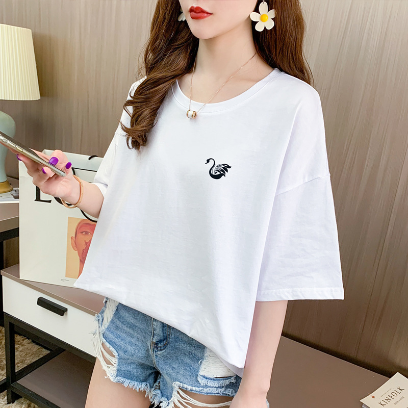 2020 summer new womens Korean style all round short sleeve T-shirt womens middle sleeve cotton T-shirt womens loose short top