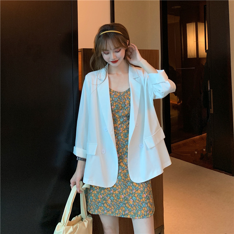 Plaid Blazer Jacket Womens mid long summer new British retro top loose casual Korean suit