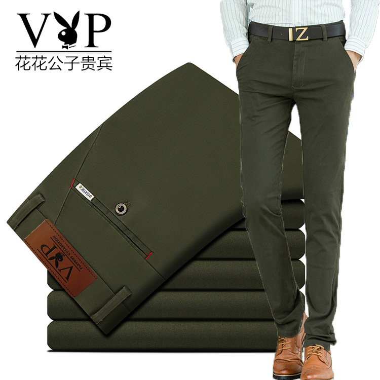 Playboy VIP mens casual pants spring and summer no iron formal straight casual suit pants business mens pants