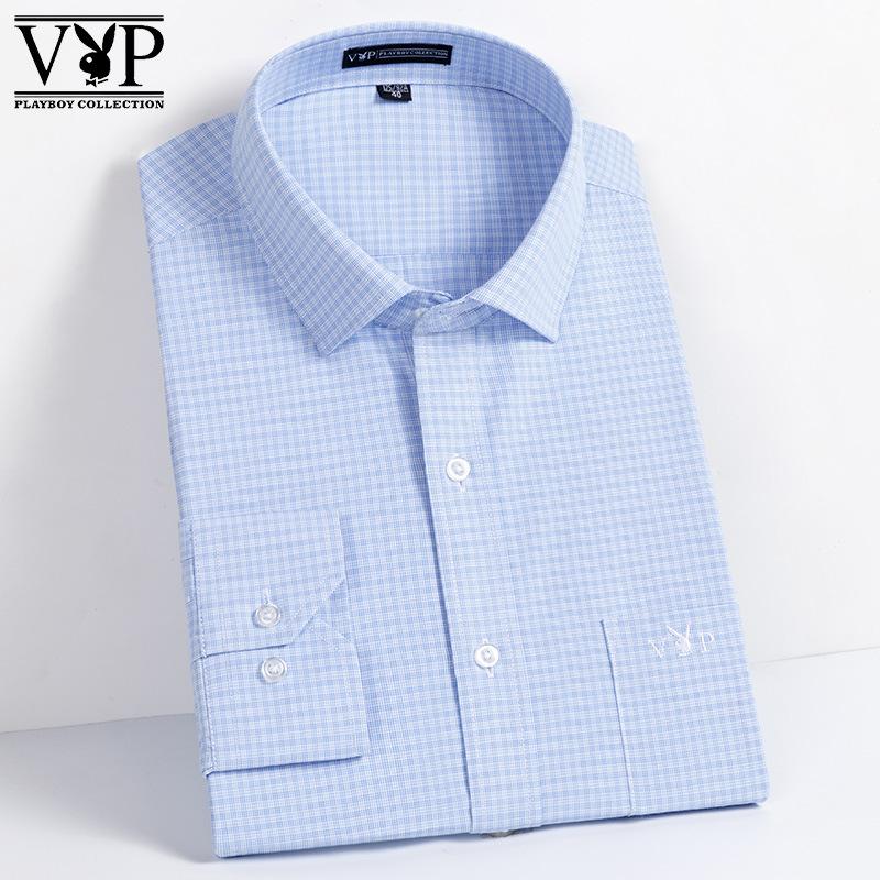 花花公子贵宾男式衬衫新款男装正装商务休闲格子青年衬衣免烫
