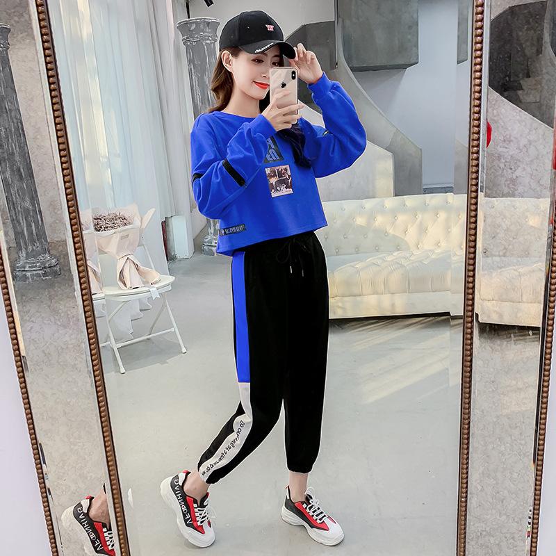 2019新款春季韩国原宿风印花拉链长袖圆领运动休闲套装10