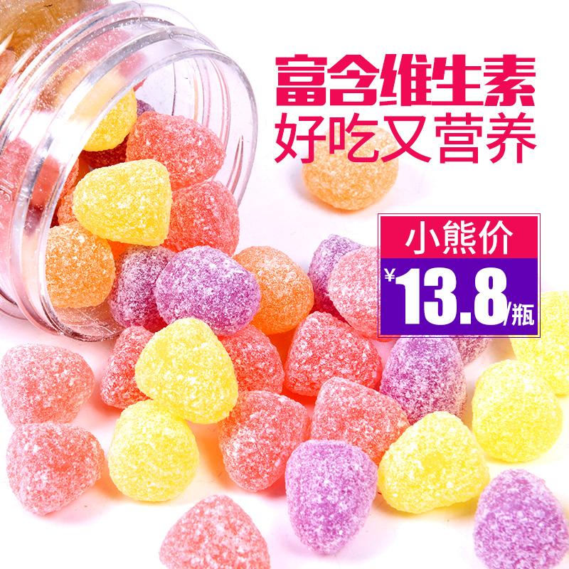 哈皮小熊水果糖果汁软糖罐装维生素橡皮qq糖零食散装批发童年零食