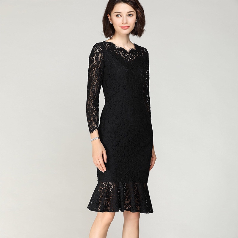 2020 spring womens Boutique Black Lace knee length fishtail 9-sleeve hollow slim sling lined dress