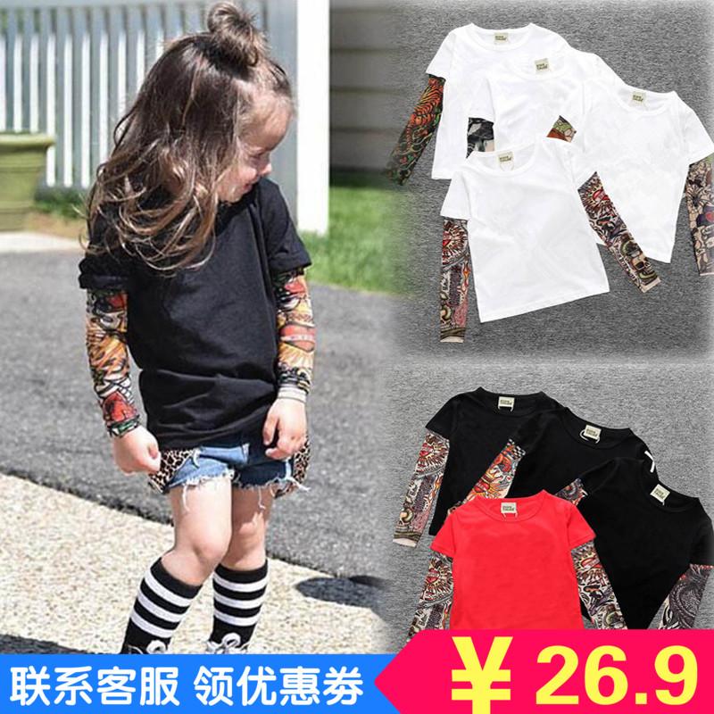 子供Tシャツの女性の赤ちゃんの年齢Q 8半袖の偽の子供服の夏の男性のタトゥーの腕の長袖Tシャツのファッション