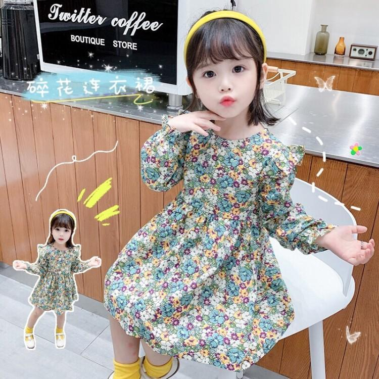 。 Girls skirt 2020 spring and autumn new childrens dress foreign style cotton long sleeve princess skirt girl baby floral suit