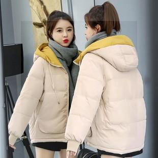 霧霾藍外套工裝棉服女冬季2020新款加厚大碼棉襖韓版寬鬆短款棉衣