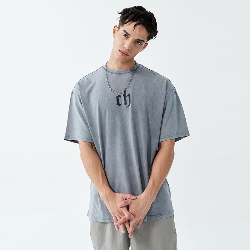 CHINISM 夏季t恤男潮牌纯棉水洗做旧半袖宽松百搭落肩袖情侣短袖