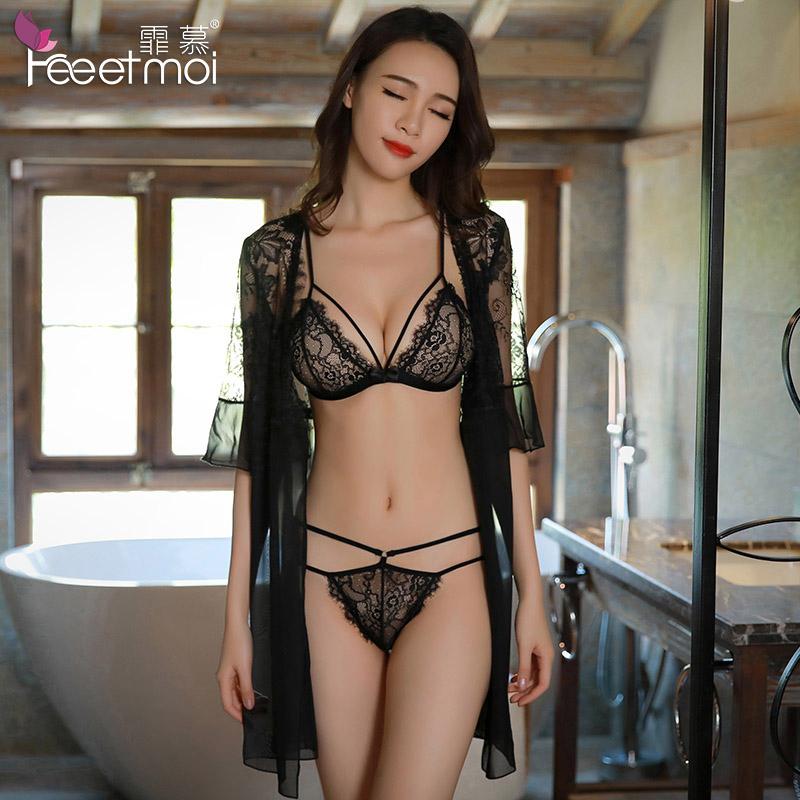 性感情趣内衣服蕾丝透视三点式睡衣大码夜火激情套装骚女制服用品