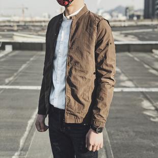 春秋潮流帅气修身夹克薄款纯色上衣男休闲立领韩版初冬加绒外套男